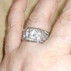 Jewelry - **SALE***Unisex White Topaz & CZ 925 Silver Ring 8